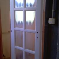 Fehér csincsilla üveges beltéri ajtó