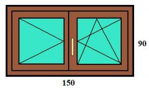 150×90 kétszárnyú bukó-nyíló műanyag ablak