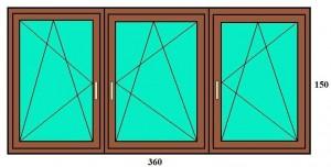 360x150 Bukó-nyíló műanyag ablak