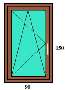 90×150 bukó-nyíló egyszárnyú műanyag ablak